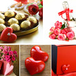 collage for the day of St. Valentine - flowers, hearts, gifts