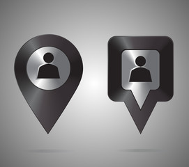Location icon. Round and square pin pointer. Location marker