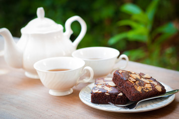 Afternoon tea with brownie cake