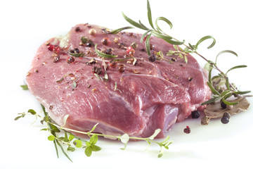 Fresh meat with pepper, mint, rosemary, thyme and spices