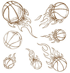 basket ball  hand draw isolated on white