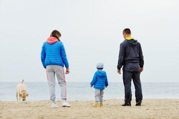 family near the sea