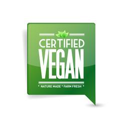 certified vegan message bubble. communication