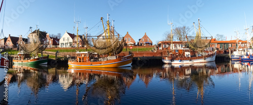 canvas print picture Greetsiel, fishing boats.