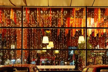 Christmas illumination of restaurant window