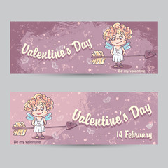 Set of horizontal greeting cards for Valentine's Day with the im