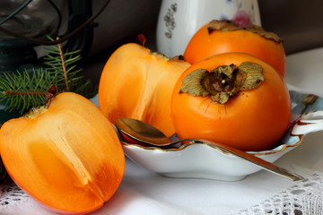 Still life with persimmons.