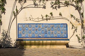 Blue tiled bench