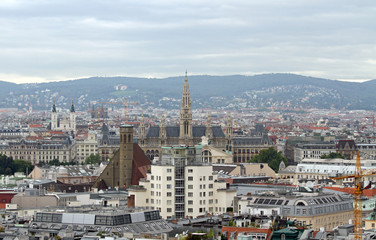 Aerial view of the city of vienna with Rathaus in austria