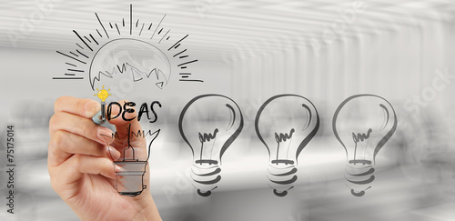 Leinwanddruck Bild hand drawing creative business strategy with light bulb as conce