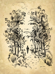 Surreal portrait of a woman in the park. Freehand drawing