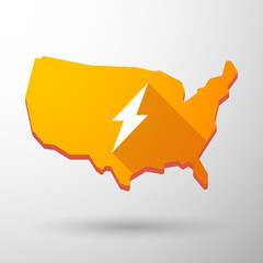 USA map icon with a lightning