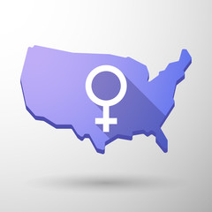 USA map icon with a female sign