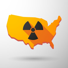 USA map icon with a radioactivity sign