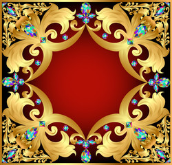 background with red gems and gold ornaments