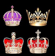 set gold crowns on black background