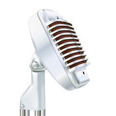 Aluminum microphone on a white background