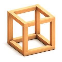 Impossible cube. Optical illusion. Impossible geometrical figure