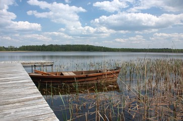 Boats moored on the lake Grutas. Lithuania