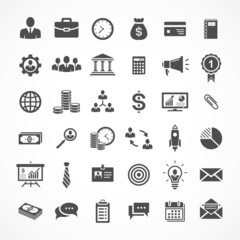 Set of 36 business and finance icons. Vector illustration eps8