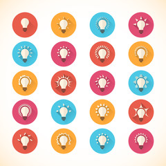 Set of colorful bulb flat icons. Vector illustration eps10