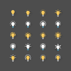 Set of 20 bulb flat icons. Vector illustration eps10