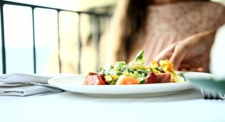 Fresh Raw Salmon Salad Lettuce Healthy Fish Dish Gourmet Five