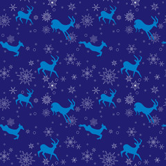 dark blue seamless christmas pattern with blue goats - vector