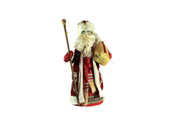 Santa Claus with gifts. Isolated object on white background.