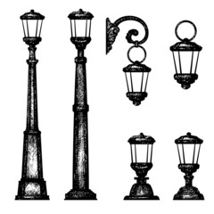 Sketch of street light, vector drawing