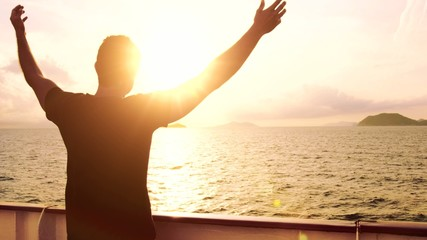 Young Man Spiritual Worship Pose Outstretched  Arms Sun Cruise