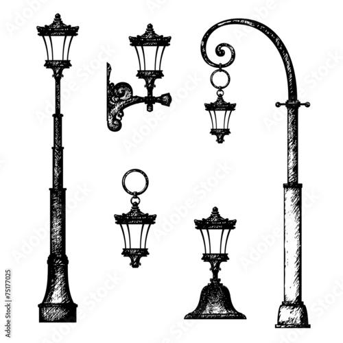 Sketch of street light, vector drawing - 75177025