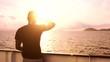 Young Man See Searching Salvation Land Island Ship Spiritual