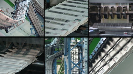 Collage of newspapers printing. Machine print daily paper press