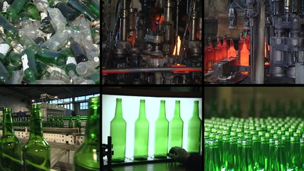 Collage of glass bottle recycling and production in factory