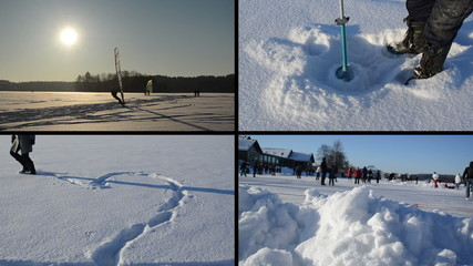 Ice surfer. Heart shape on snow. Icehole drill. People skate