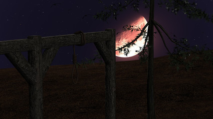 Spooky Night background with Gallow, Crows and Red Moon
