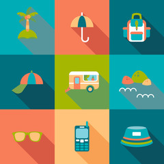 Travel flat coloured Icons with shadow