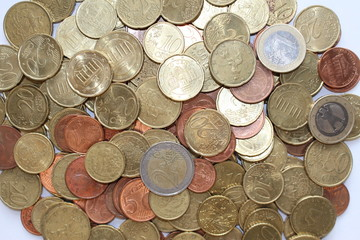 Scattered euro coins