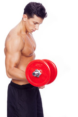 Fitness man lifting dumbbells on a white background