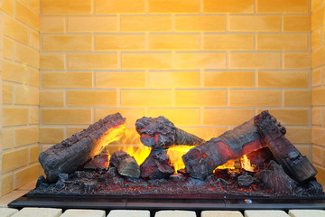 closeup electric fireplace