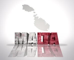 Word Malta on a map background