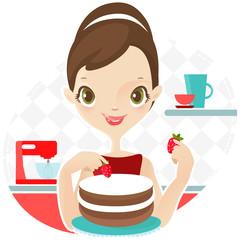 Beautiful woman making cake