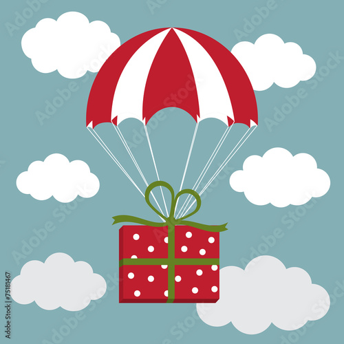 Red and white parachute with the present in the sky. Delivery Co