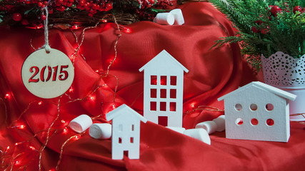 Beautiful little houses on a red background - Christmas