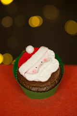 Santa decorated cupcake