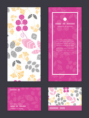 Vector abstract pink, yellow and gray leaves vertical frame