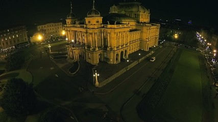 Croatian national theater in Zagreb - aerial shot