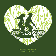 Vector abstract swirls texture couple on tandem bicycle heart