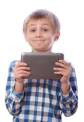 Boy with tablet on a white background
